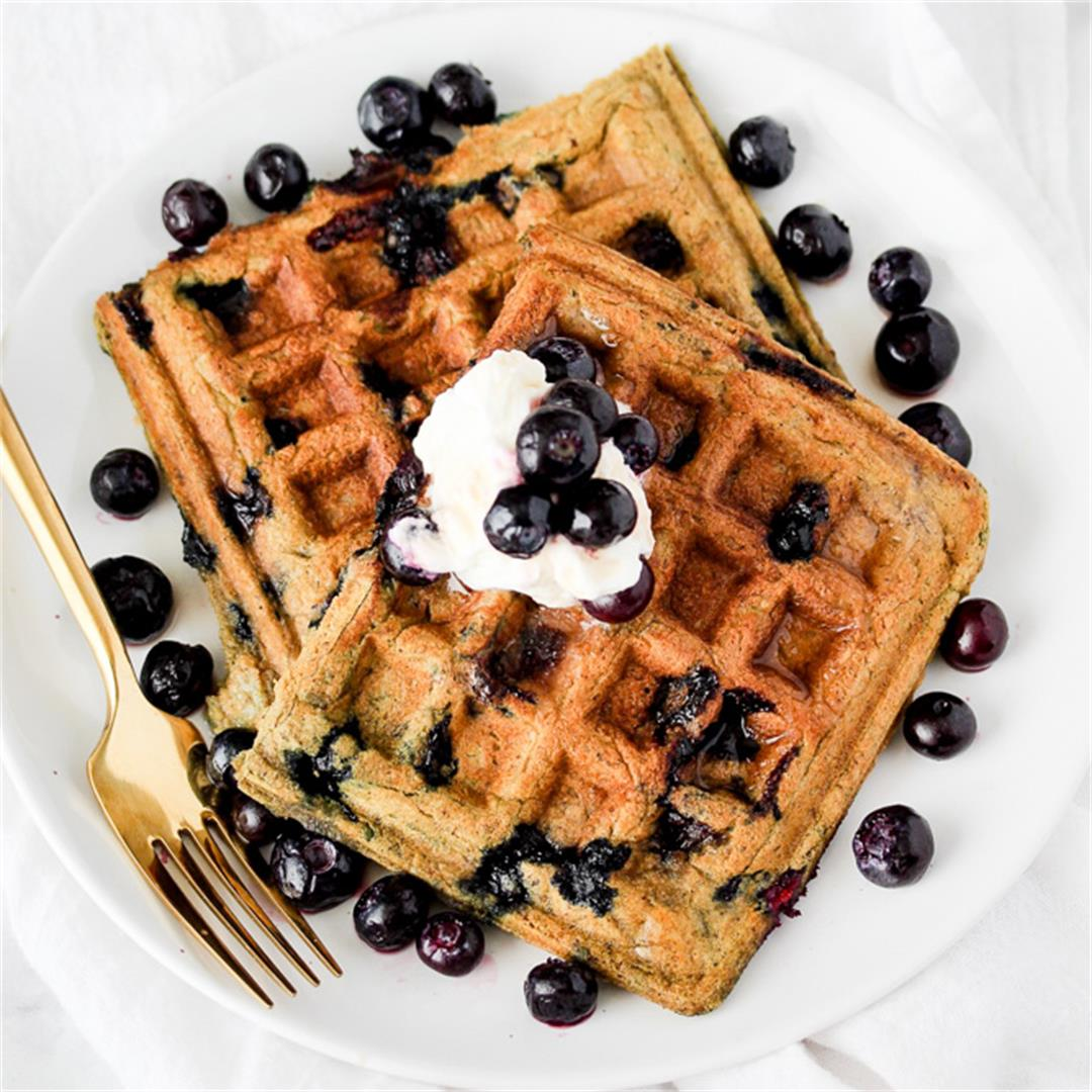 Vegan Buttermilk Blueberry Waffles