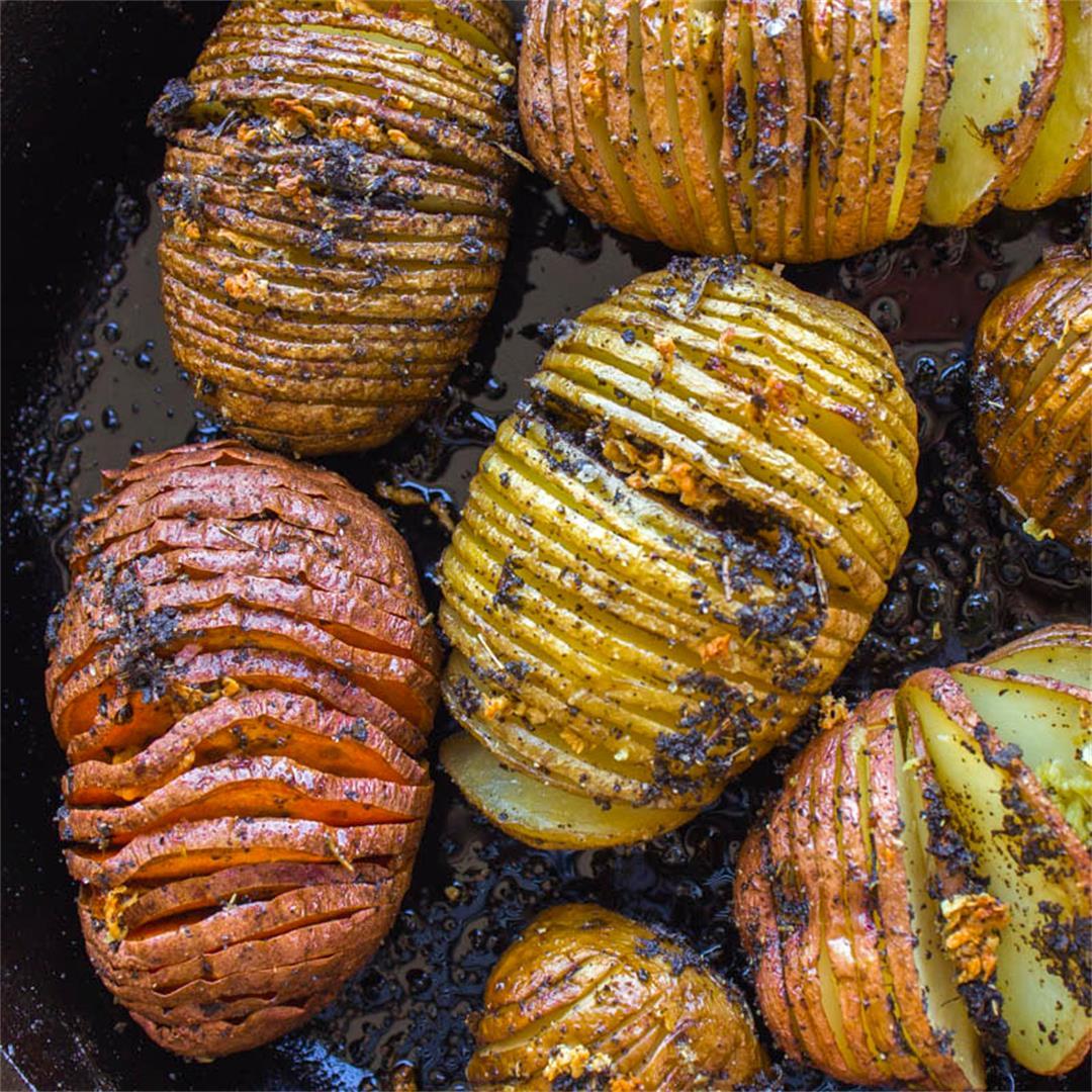 Sage and Garlic Hasselback Potatoes (vegan + gf)