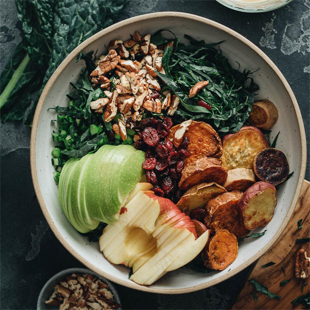 Vegan Kale Salad with Maple Mustard Dressing