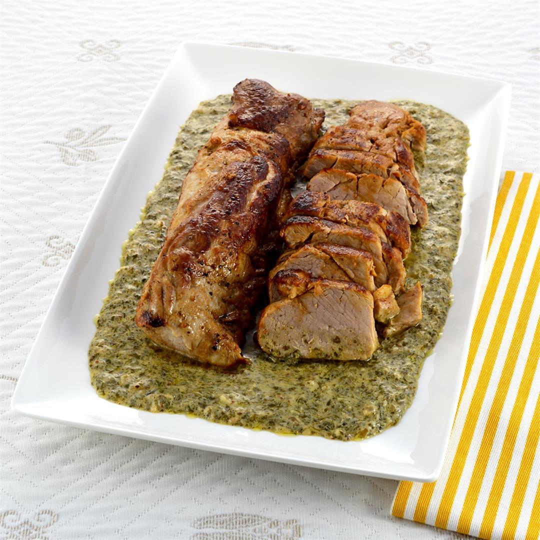 Pork Tenderloin Creamy Herb Sauce