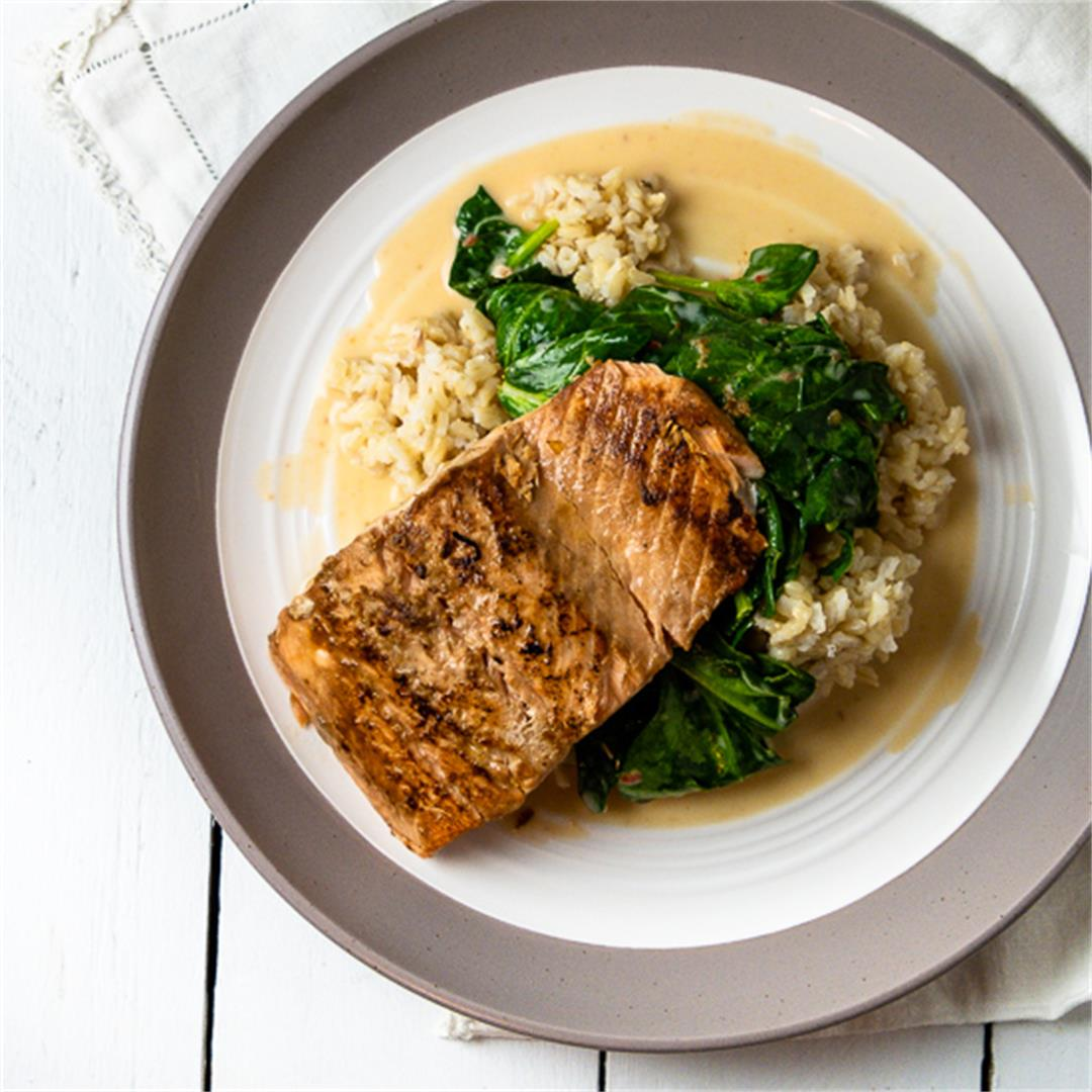 Seared Salmon on Coconut Spinach