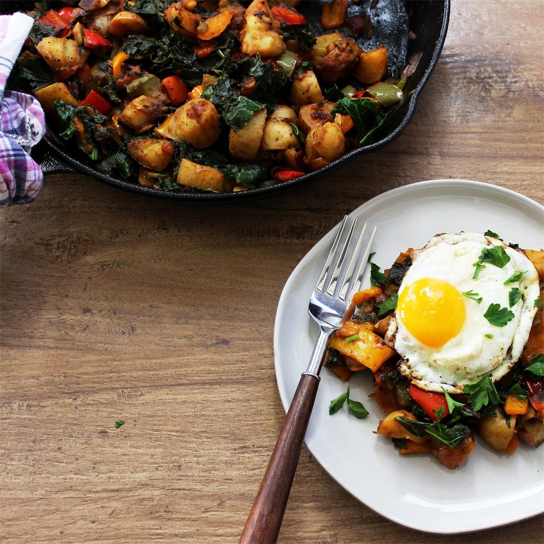 Veggie Breakfast Hash with Fried Egg