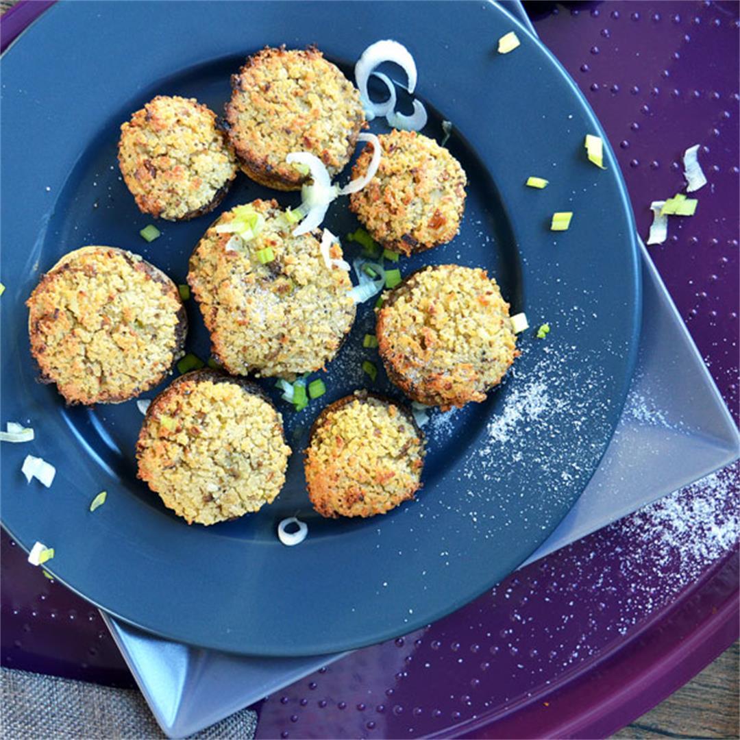 Vegan Stuffed Mushooms with Cashew Cream Couscous