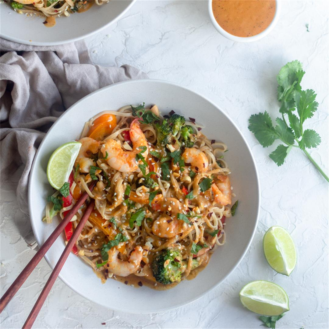 Almond Butter Shrimp Pad Thai