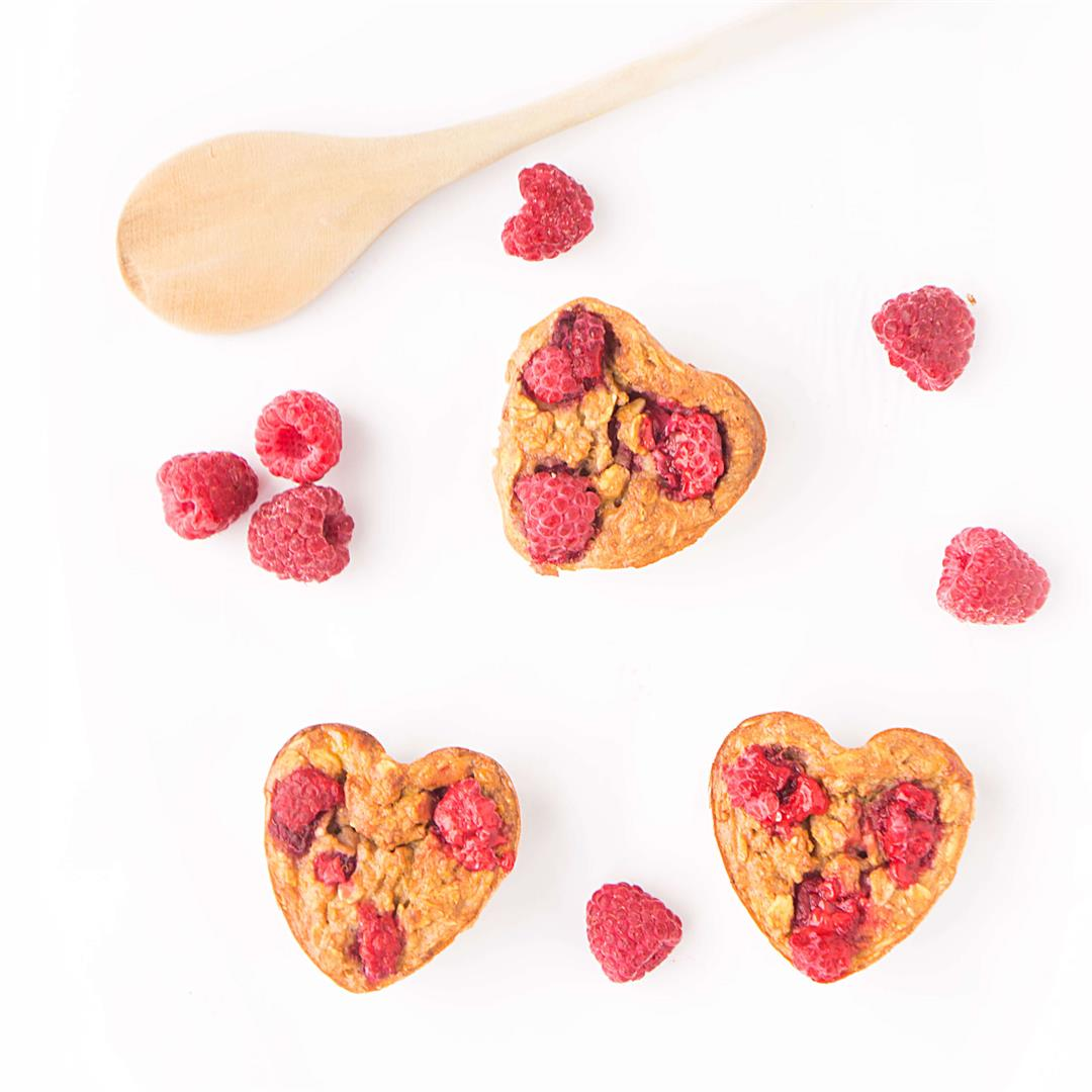 Raspberry Baked Oatmeal Hearts