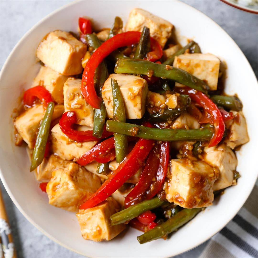 Honey ginger tofu stir fry