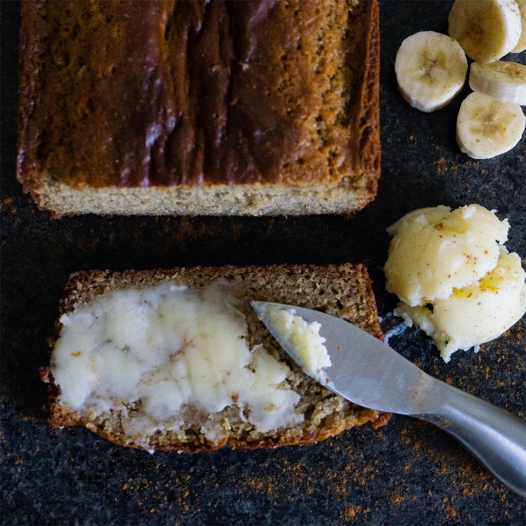 The best Banana Bread you will make topped with the perfect pai
