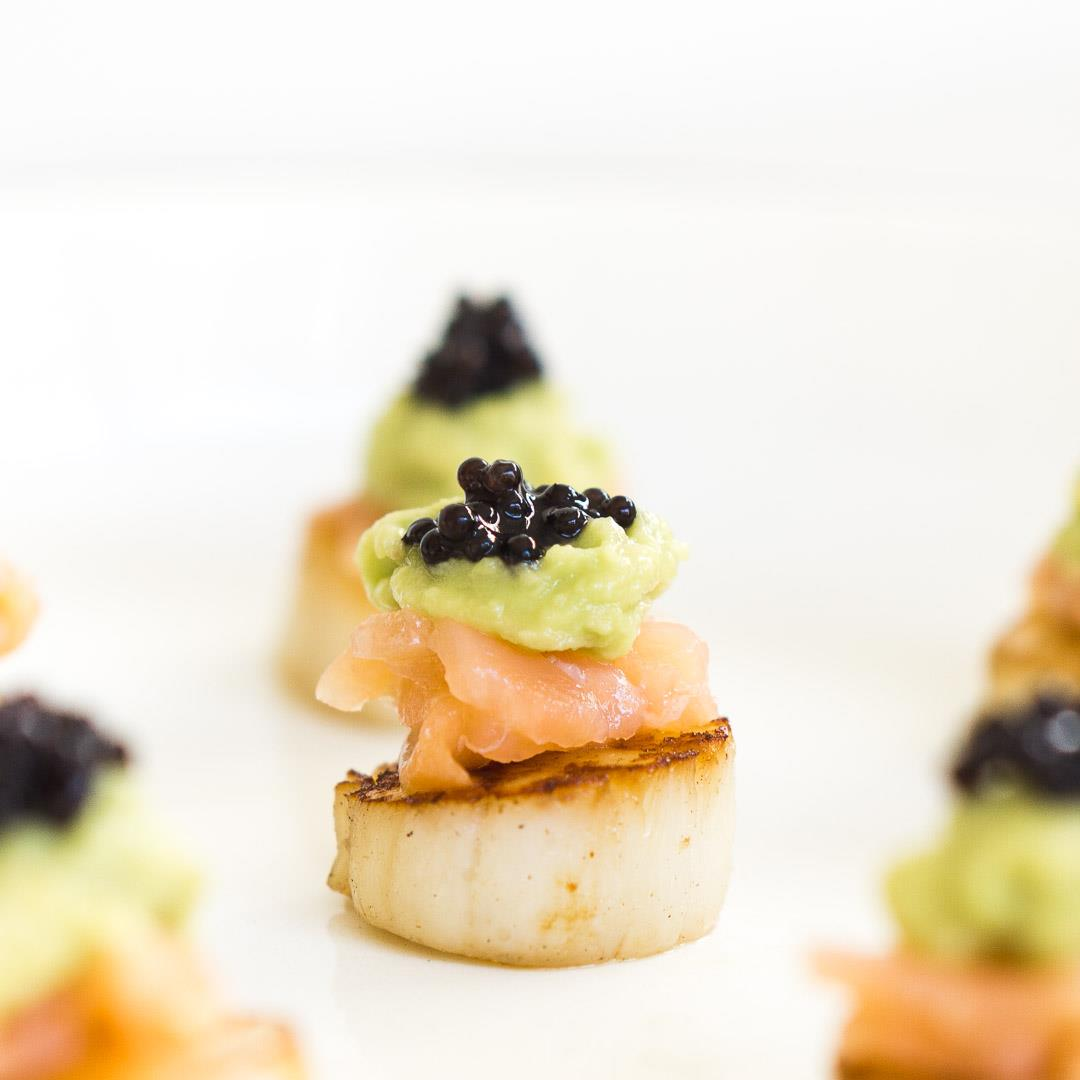 Seared Scallops with Avocado, Smoked Salmon and Caviar