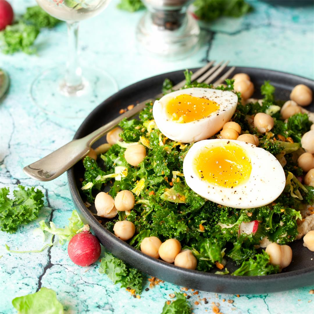 Kale & Sprout Salad with Soft Boiled Egg