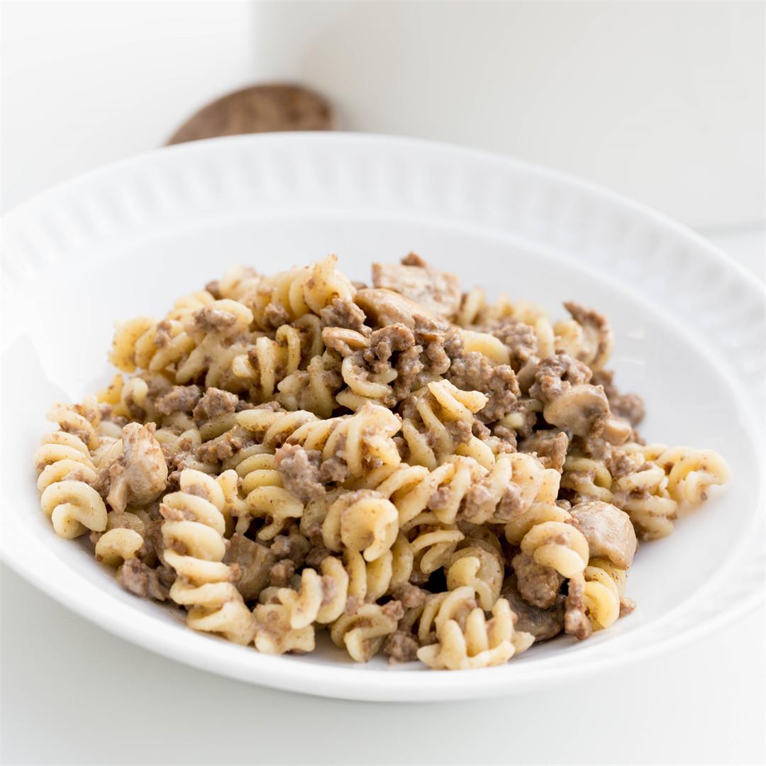 One Pot Beef Mushroom Pasta