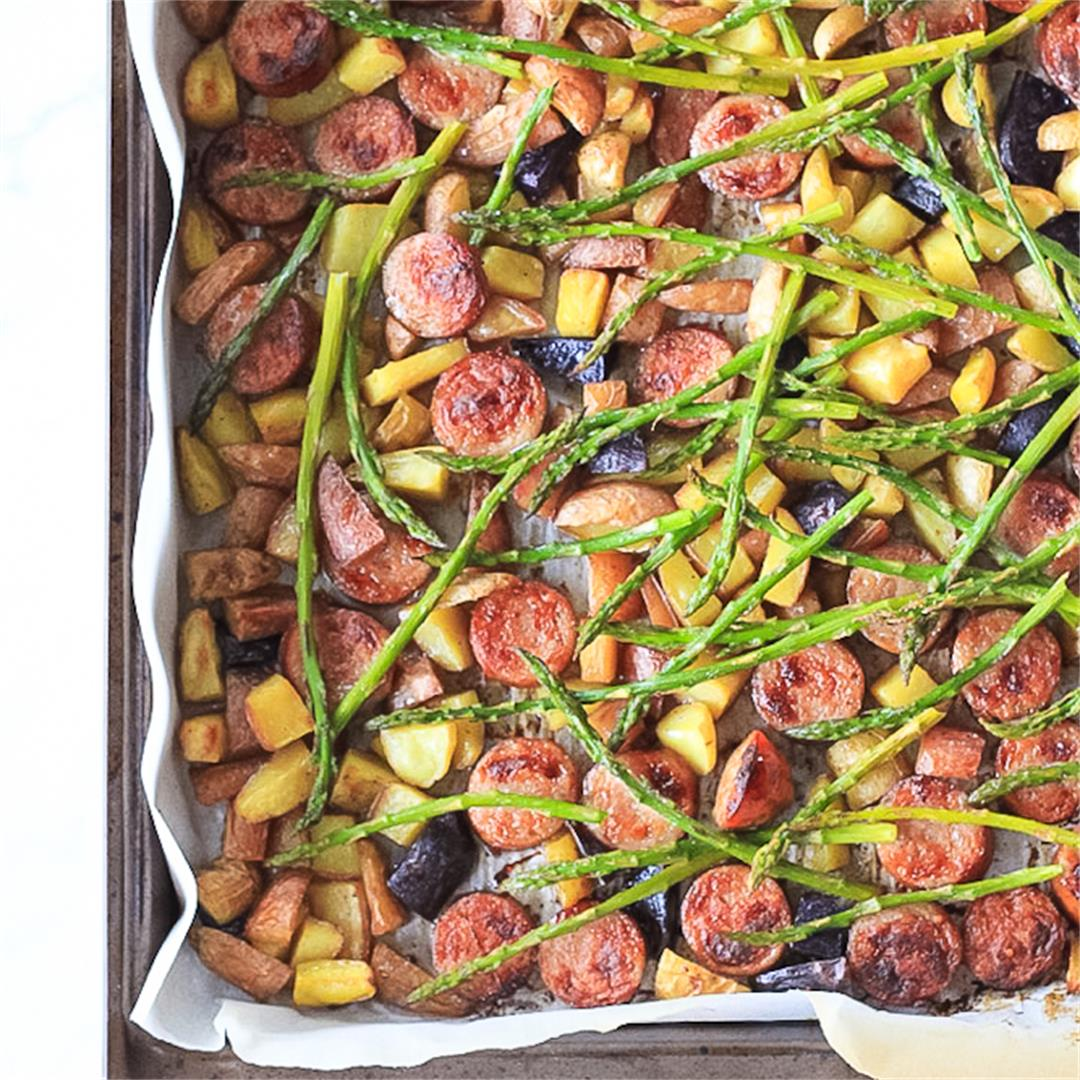 Easy Sheet Pan Dinner: Sausage, Asparagus & Crispy Potatoes