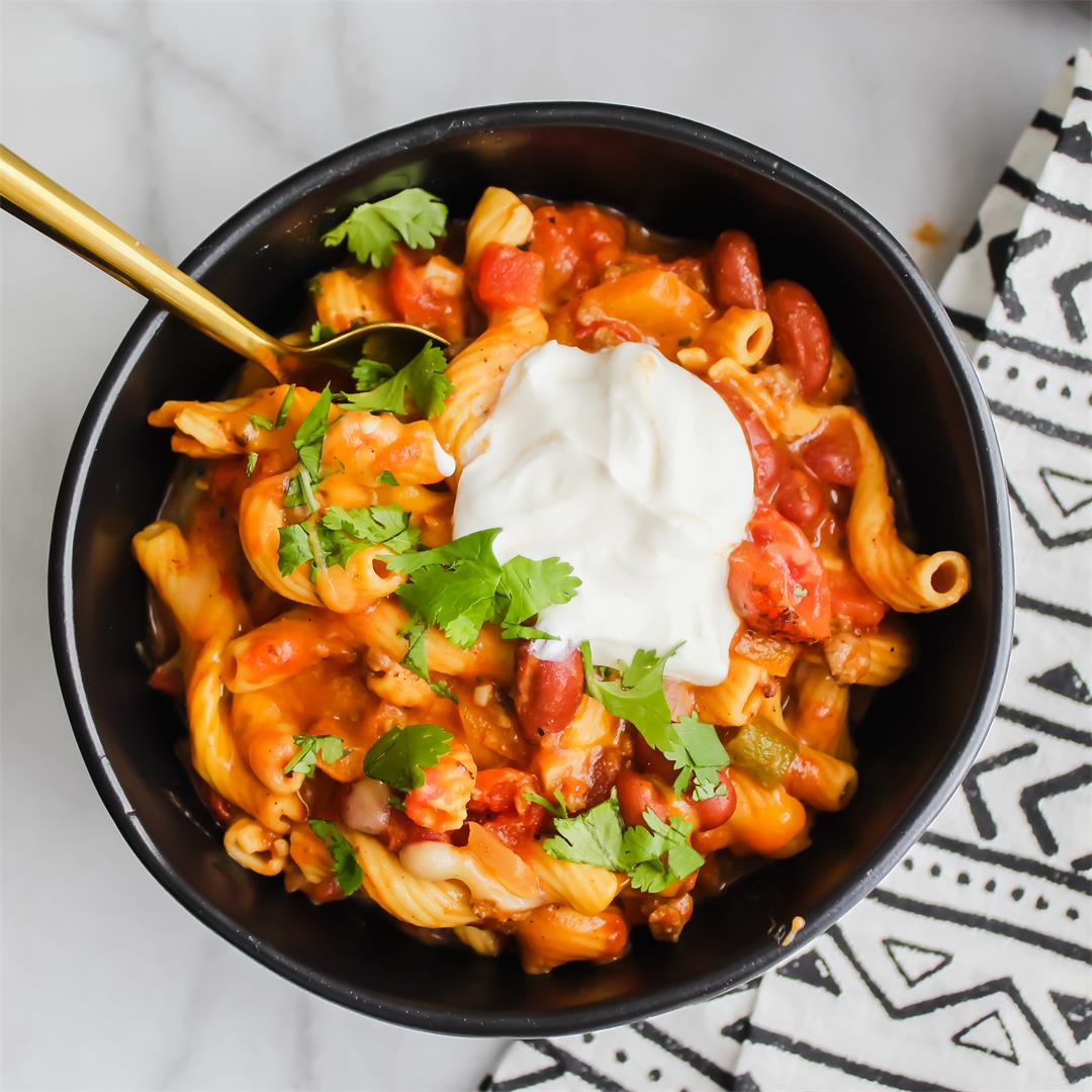 One Skillet Taco Chili Mac and Cheese