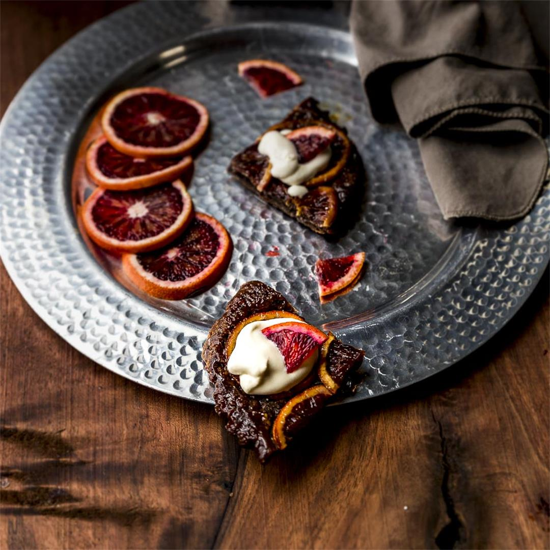 chocolate blood orange tart