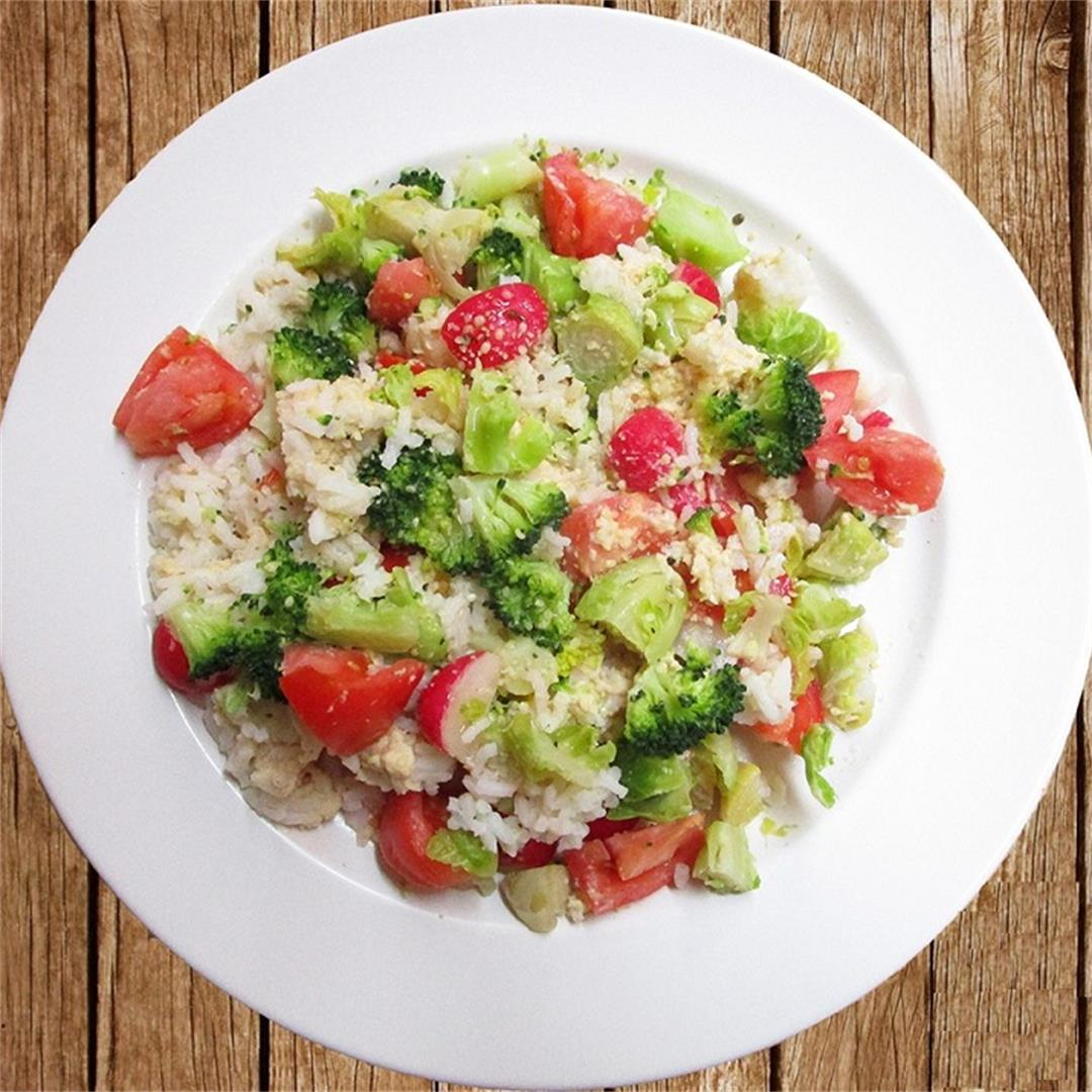 Broccoli Brussel Sprouts Tomato Rice Meal Salad
