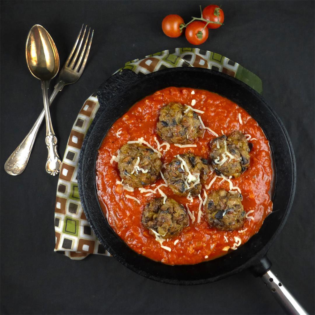 Mushroom Meatballs in Homemade Tomato Sauce