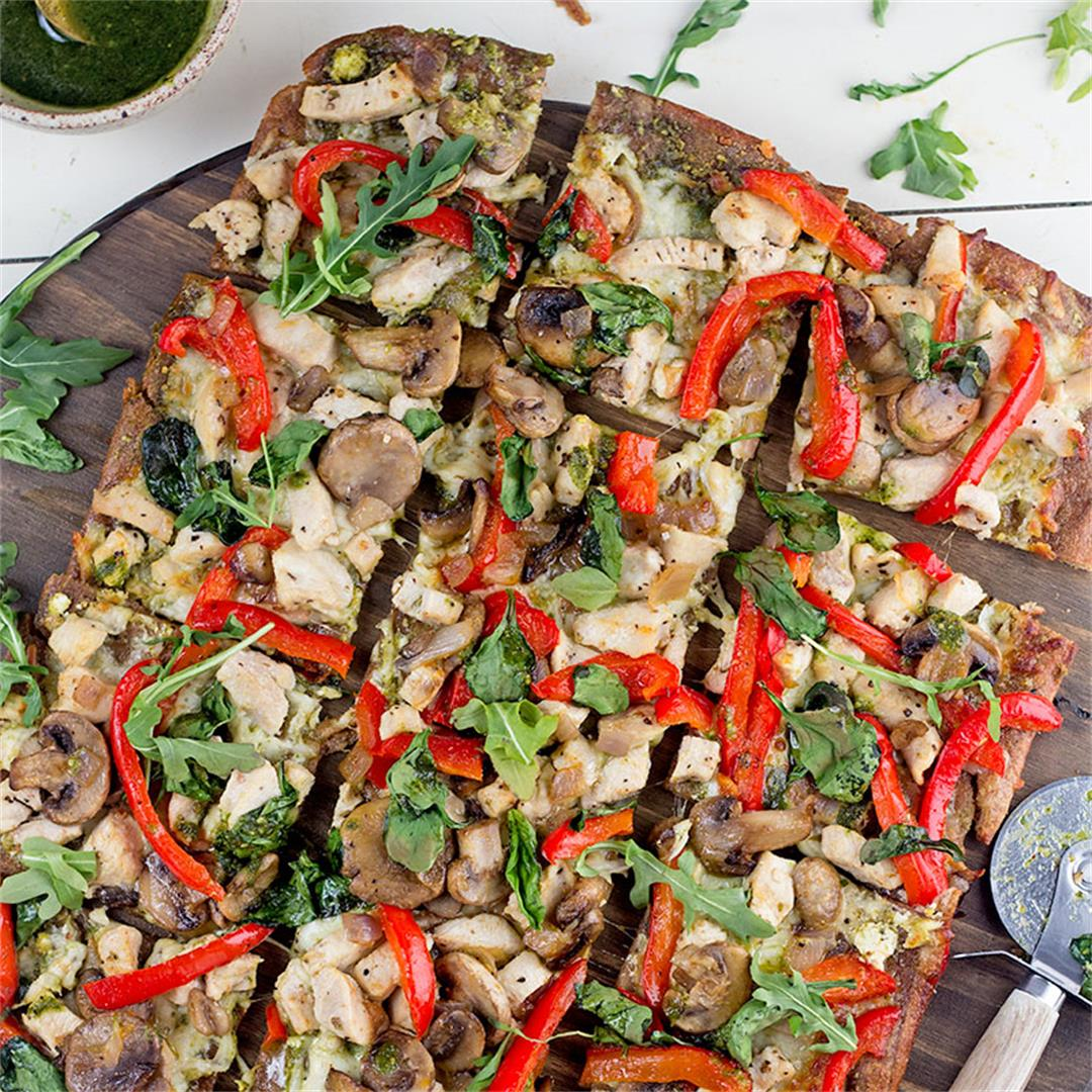 Chicken & Veggie Pesto Pizza