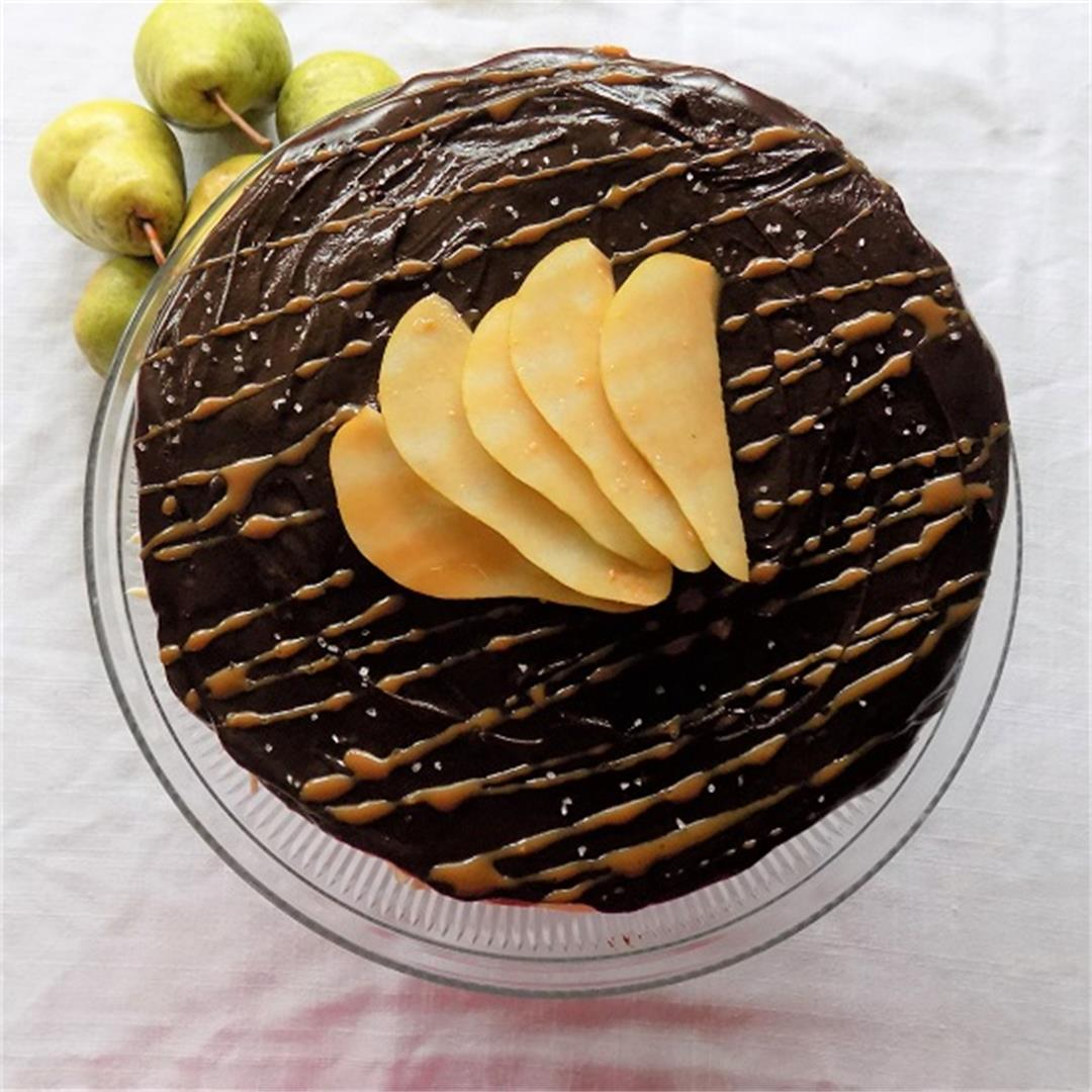 Salted Caramel Chocolate Cake with Pear Compote Filling