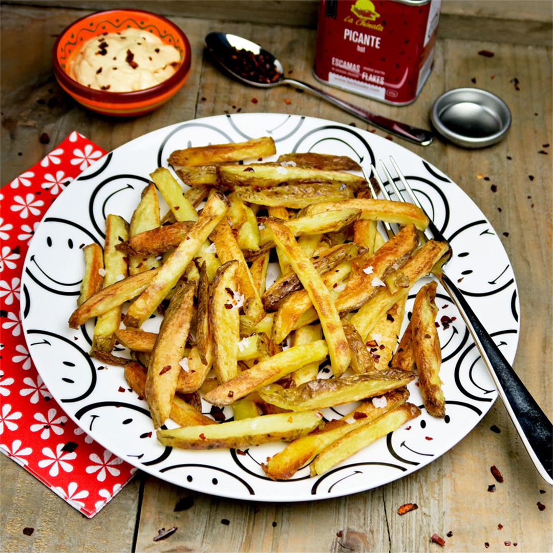 Perfect crisp and healthy oven baked French fries with 7 sauces