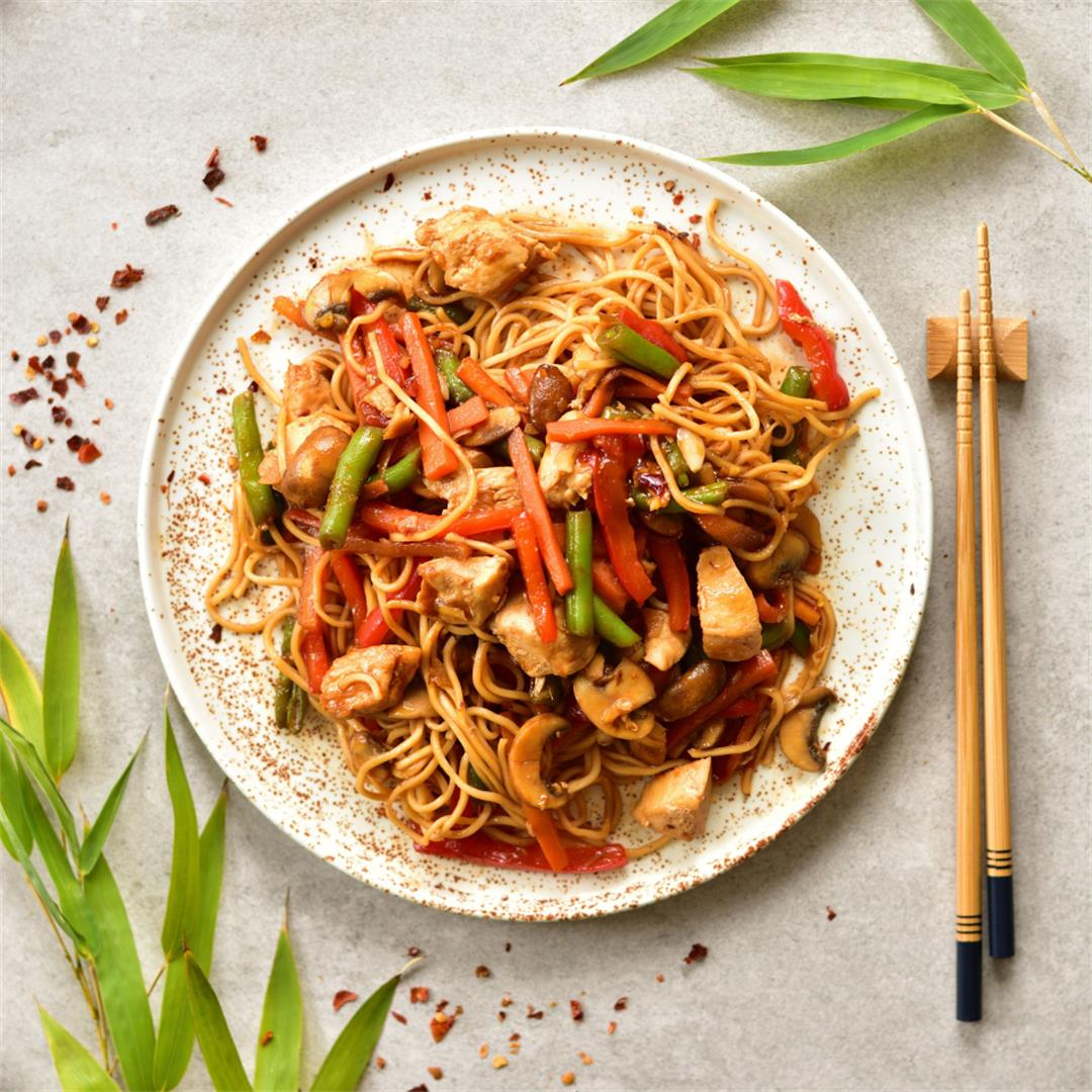 Sweet and sour chicken with noodles and vegetables