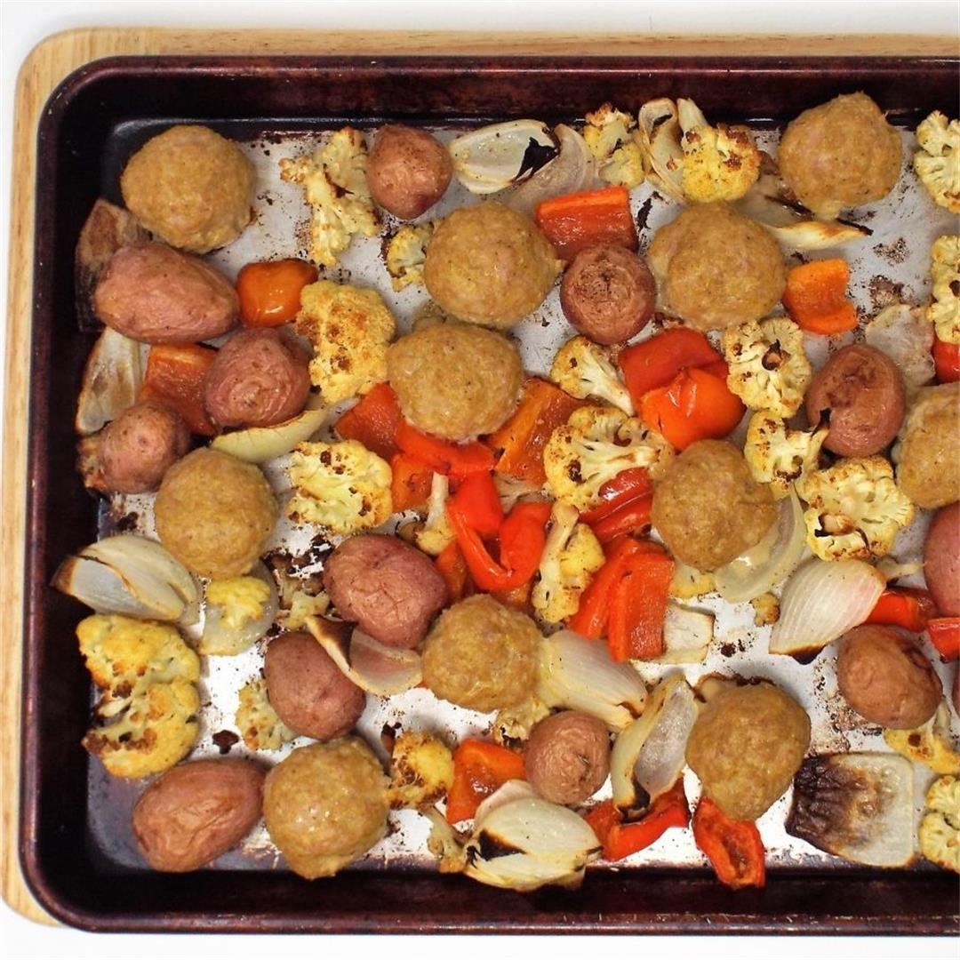 Curry Turkey Meatballs and Roasted Vegetables