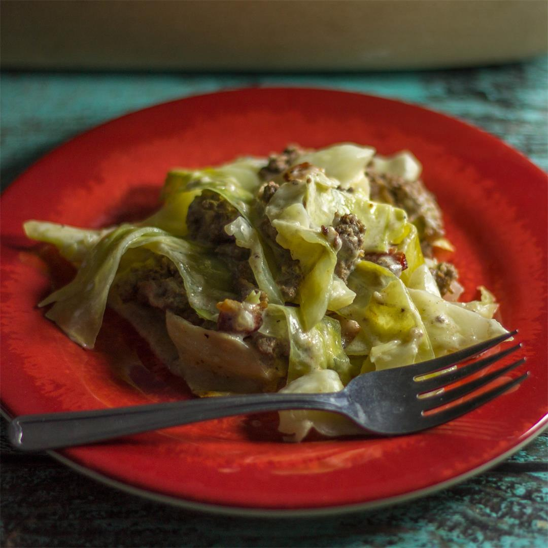 Creamed Cabbage and Ground Beef Casserole