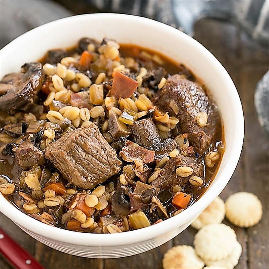 Beef Mushroom Soup with Barley
