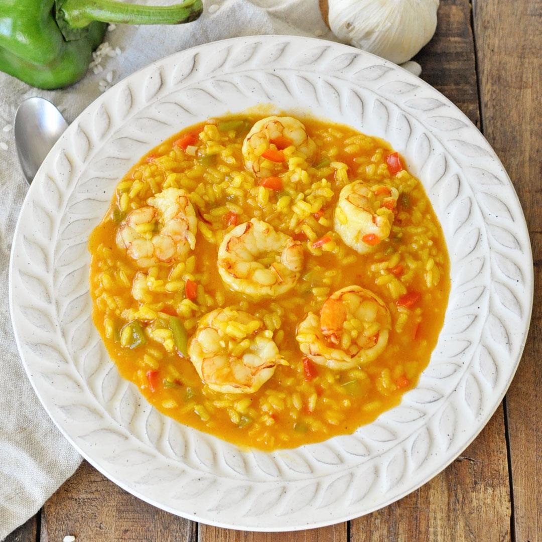 Spanish Arroz Caldoso with Shrimp