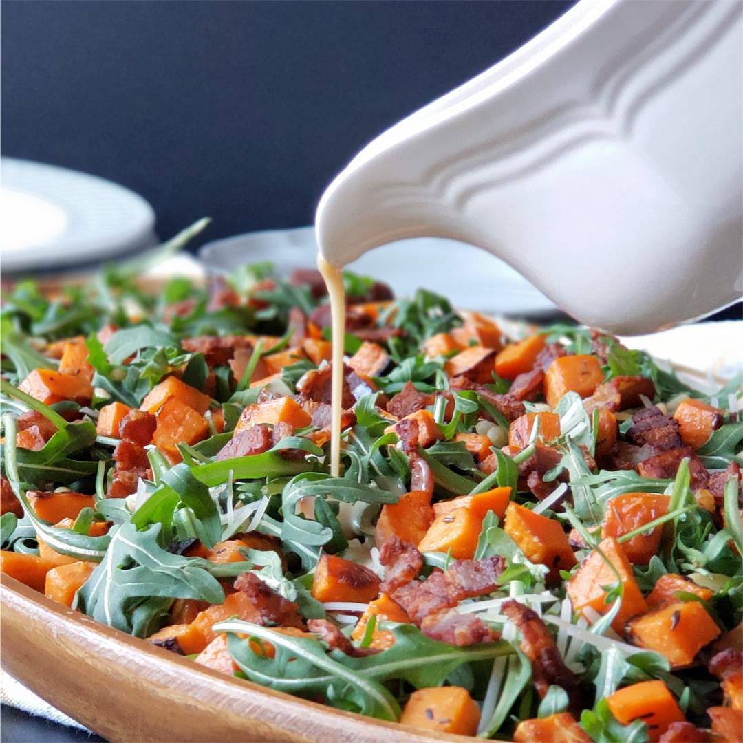 Roasted Sweet Potato Arugula Salad with Maple Bacon Vinaigrette