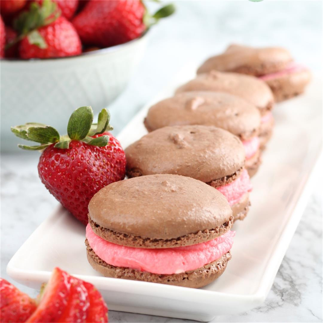 Chocolate Strawberry French Macaron
