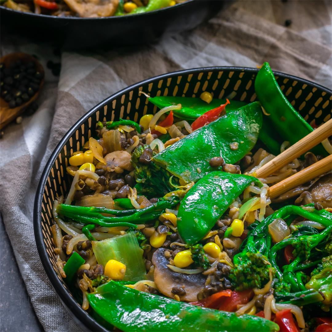 Easy Vegan Stir-fry With Mung Beans (Gluten-free)