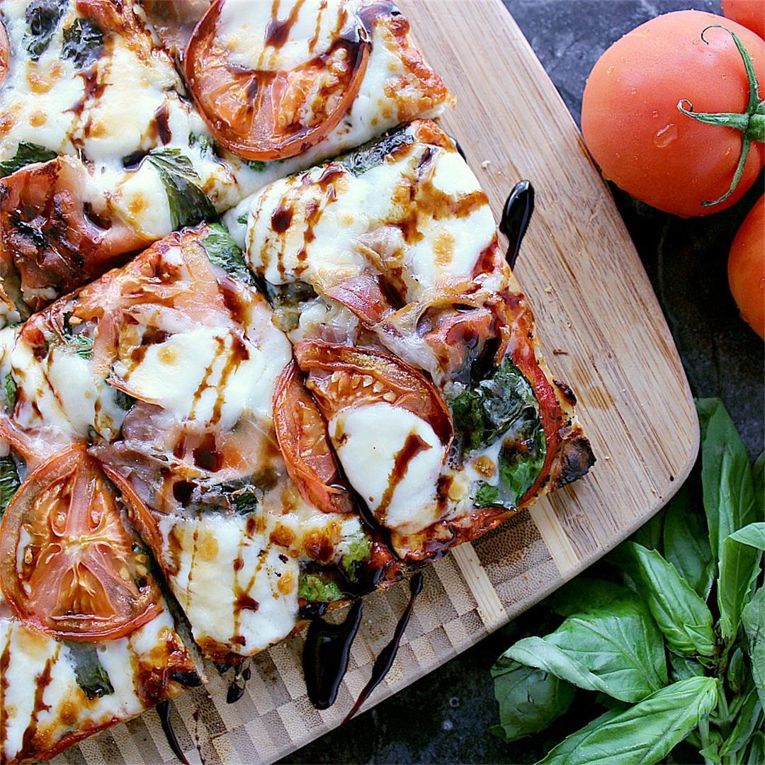 Homemade Focaccia Pizza with Prosciutto, Basil and Bocconcini