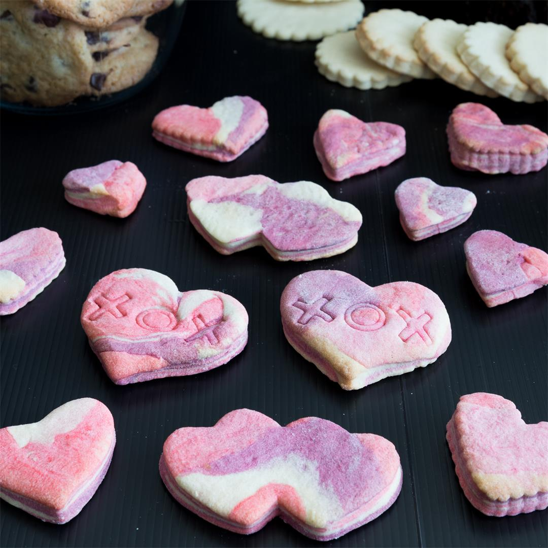 Marbled Sugar Cookies, Valentine Heart Cookies