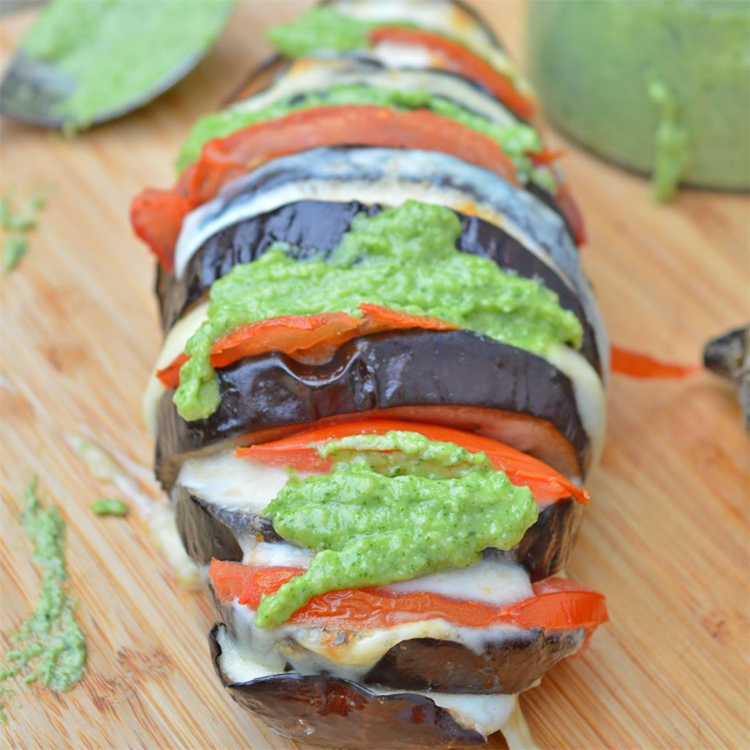 Hasselback Eggplant with Fresh Pesto