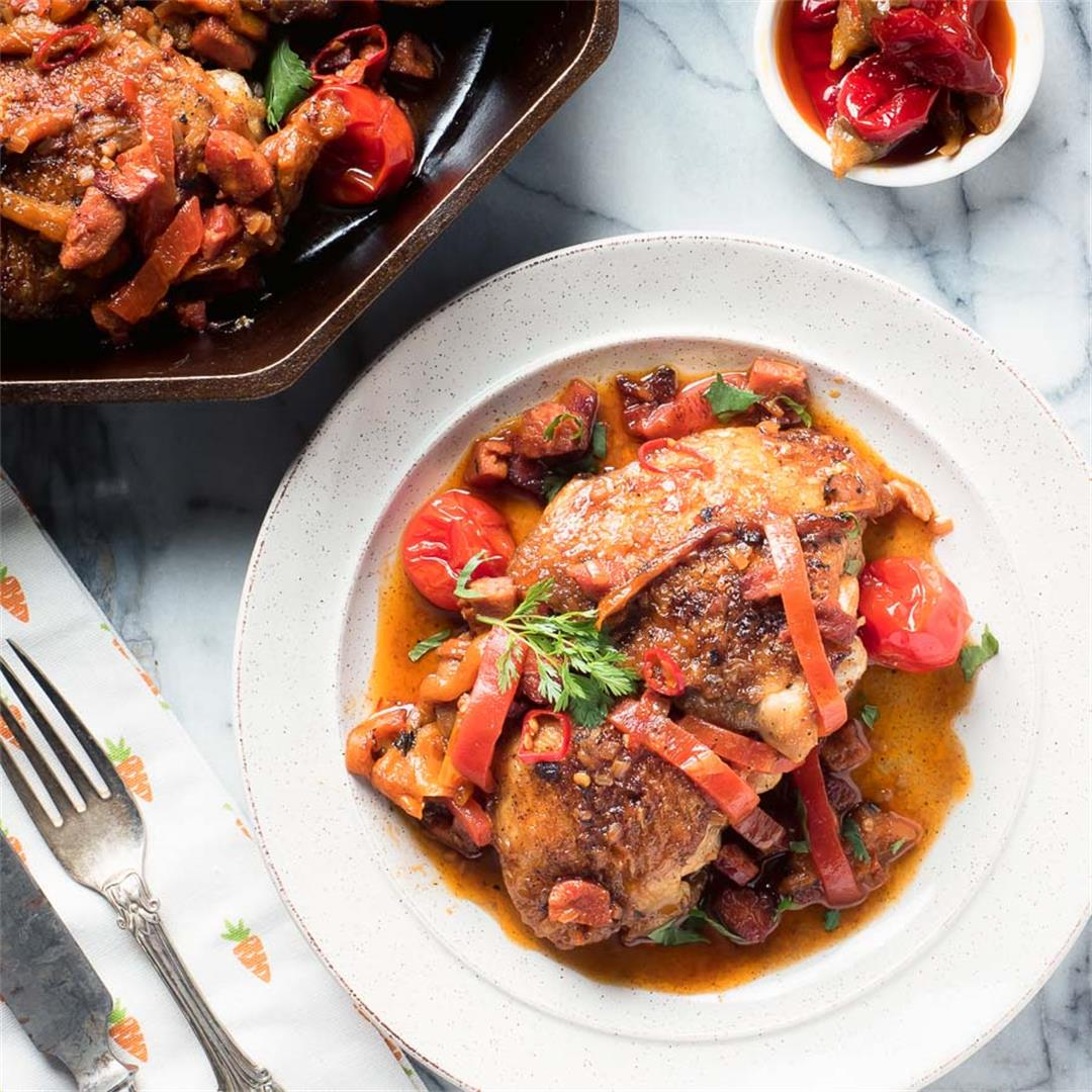 Braised Chicken with Chorizo and Calabrian Chilies