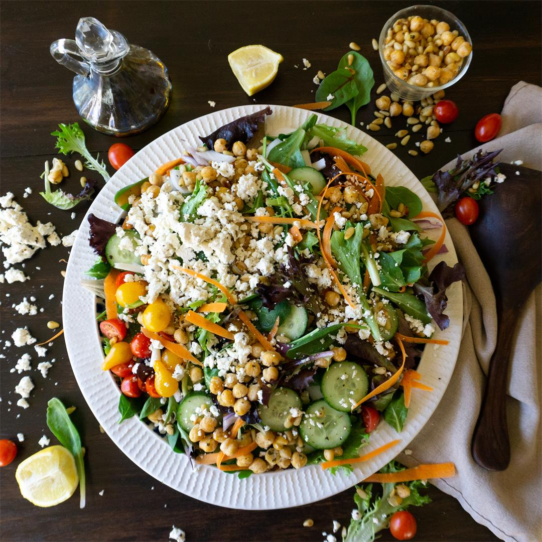 Modern Greek Salad with Crispy Chickpeas and Toasted Pine Nuts
