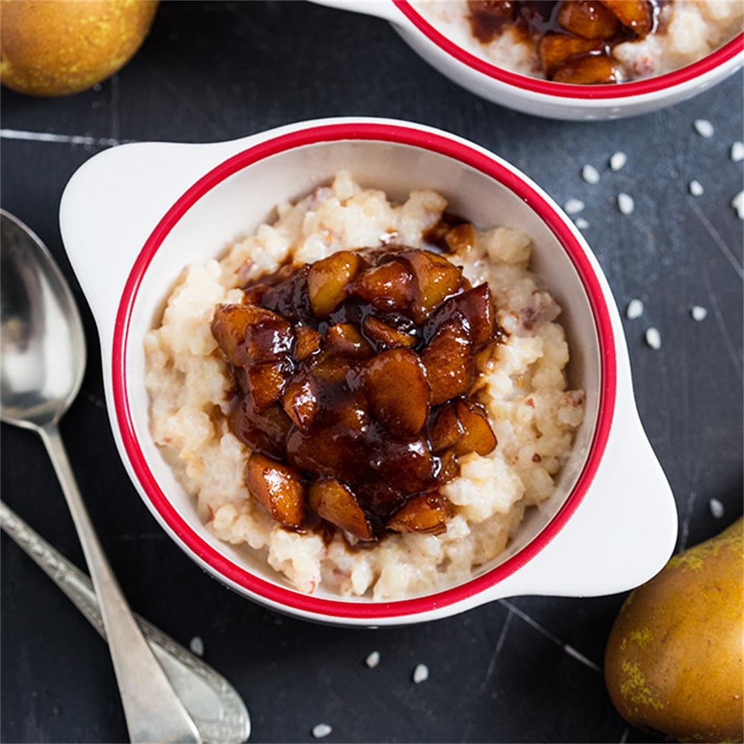 Baked Rice Pudding with Spiced Pear Compote