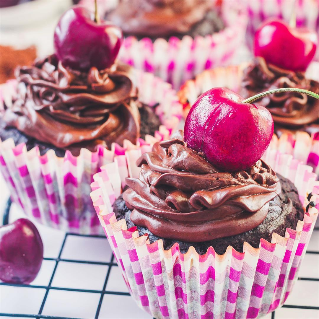 Cherry Cupcakes With Perfect Chocolate Ganache (vegan + GF)
