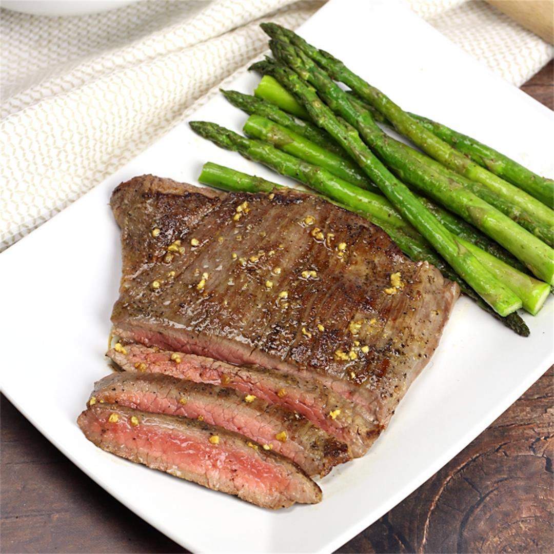Skillet Flank Steak with Garlic Butter