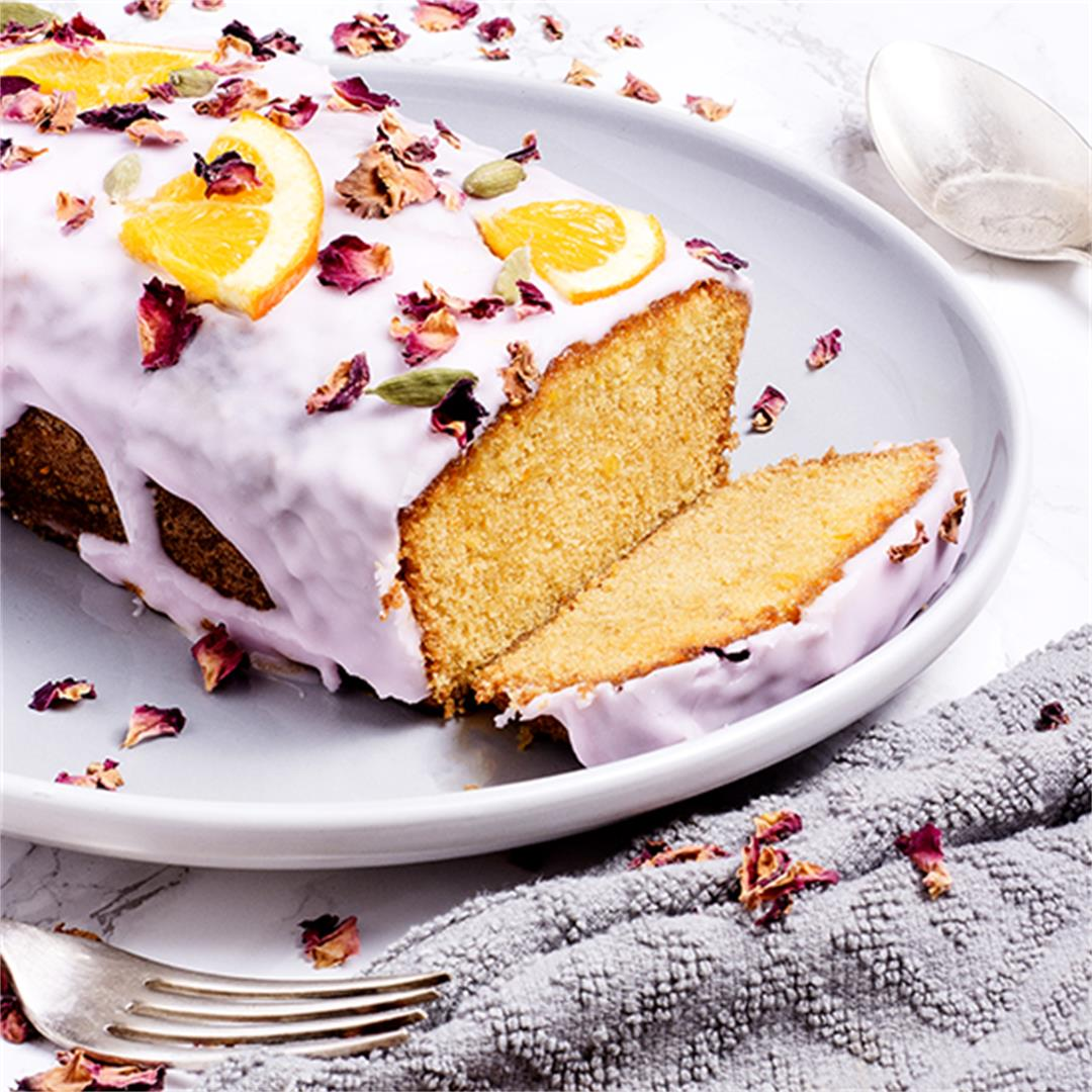 Orange and cardamom cake with rosewater icing