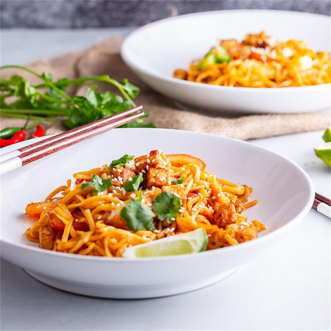 Spicy Noodles with Crispy Tofu