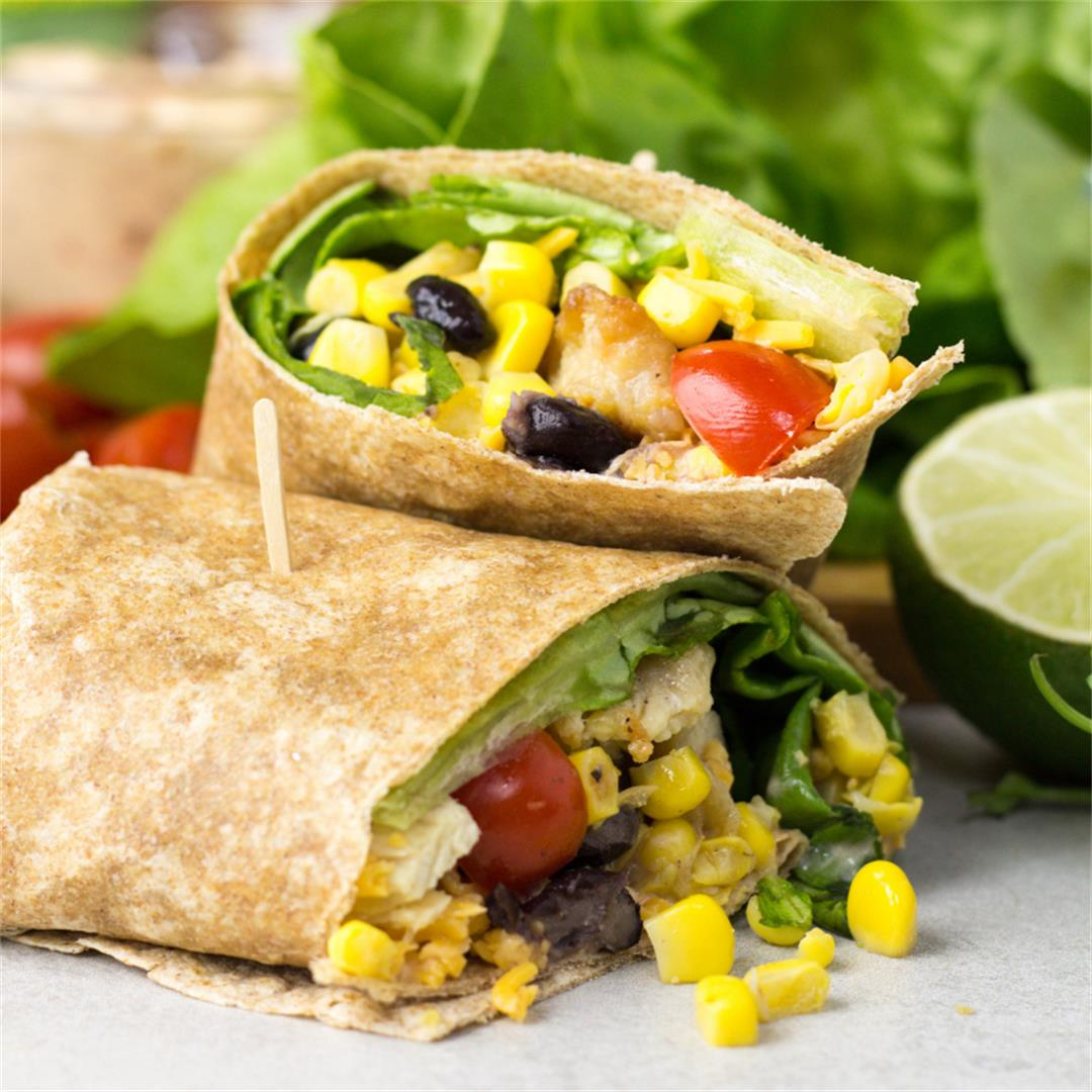 Southwest Chicken Wrap with Skinny Chipotle Mayo