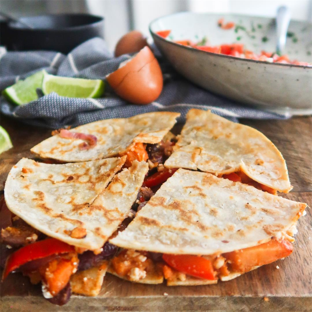 Sweet Potato and Bean Breakfast Quesadillas