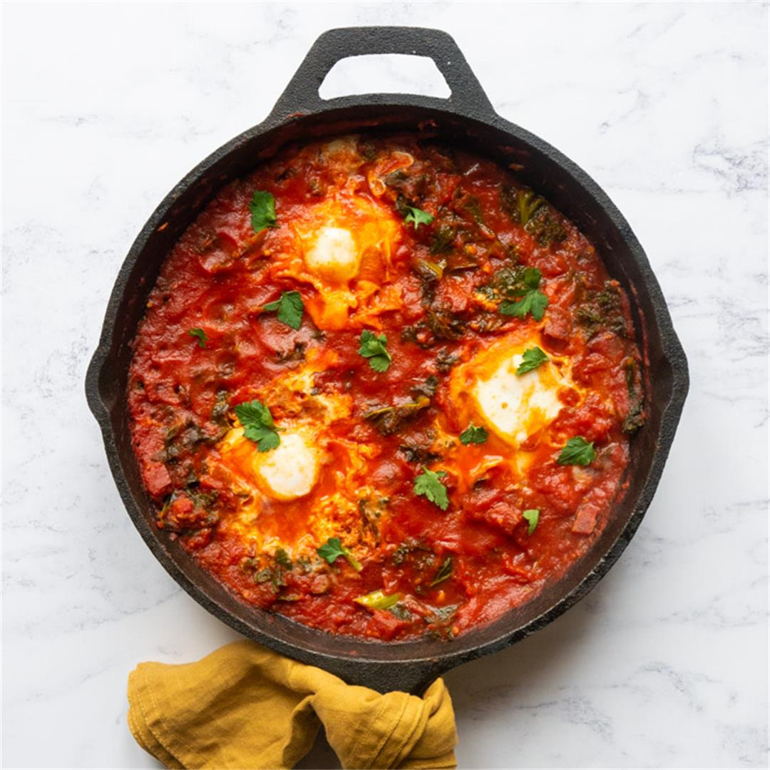 Shakshuka with Chorizo & Kale