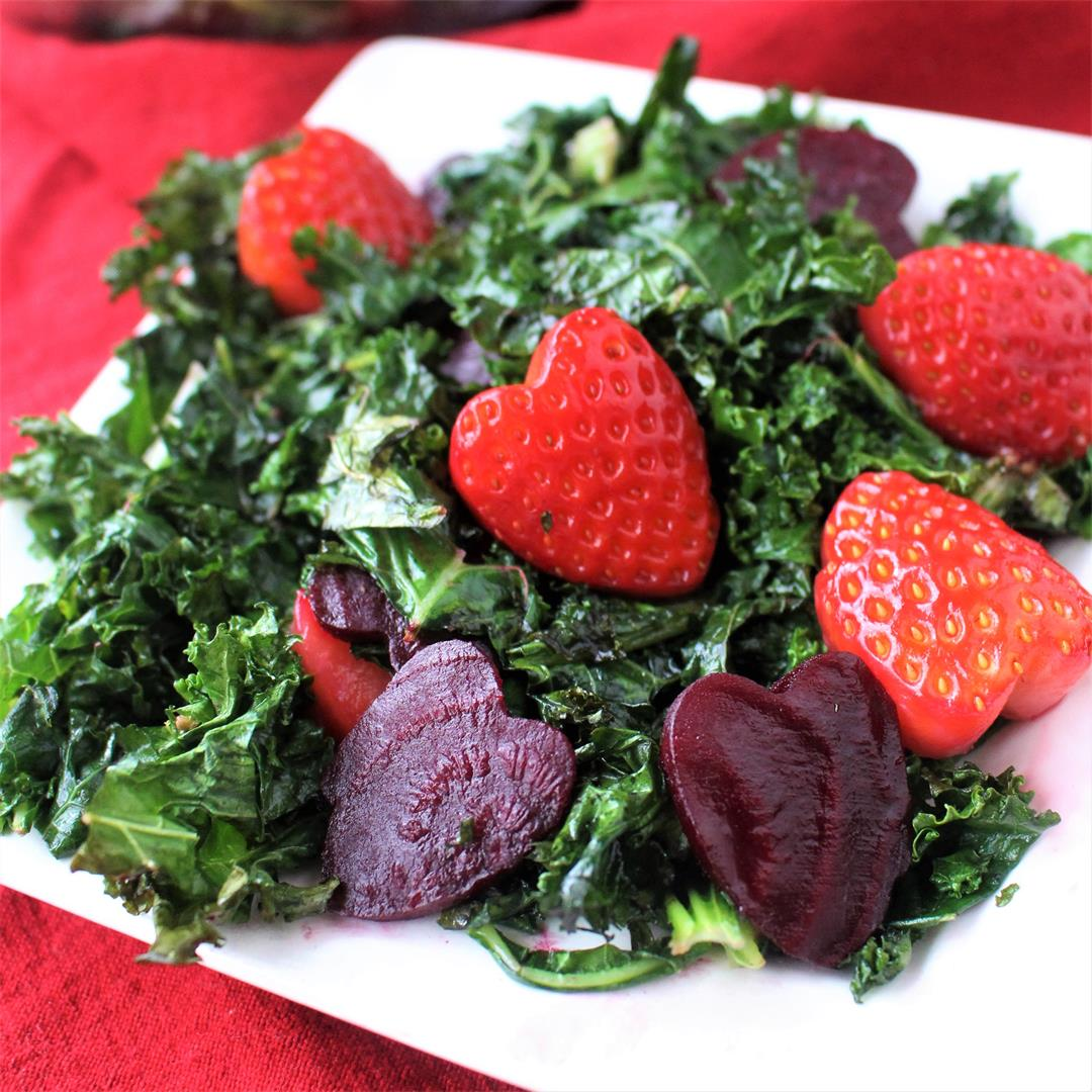 Kale, Beet, and Strawberry Valentine's Day Salad