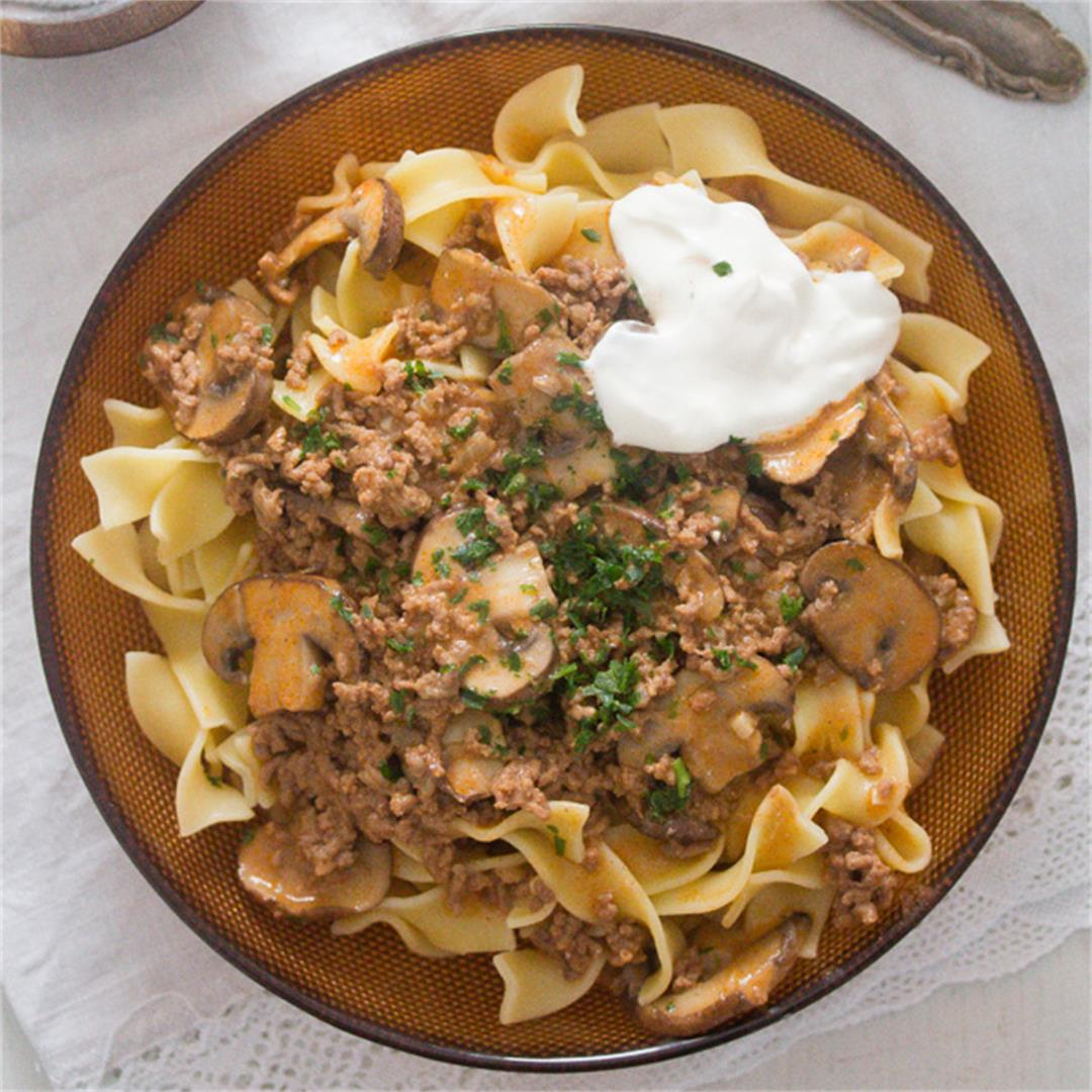 Beef Stroganoff with Ground Beef and Mushrooms