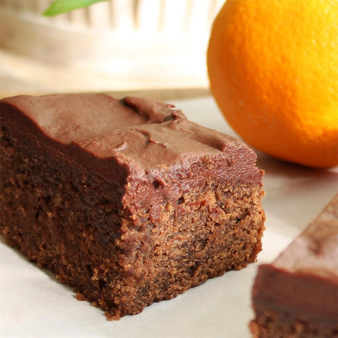 Easy Orange Brownies with Chocolate Buttercream Frosting