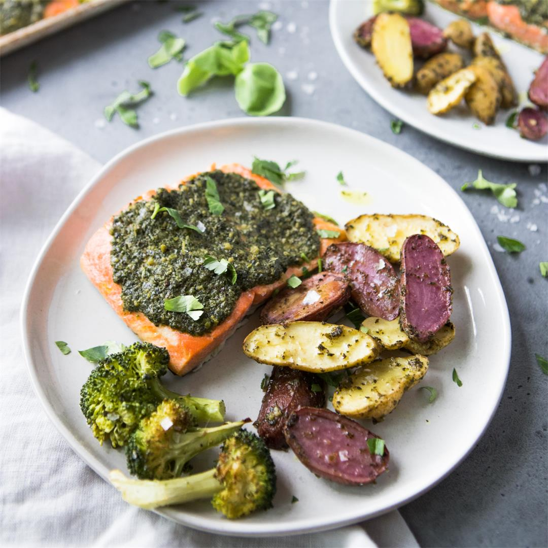 Baked Sheet Pan Pesto Salmon