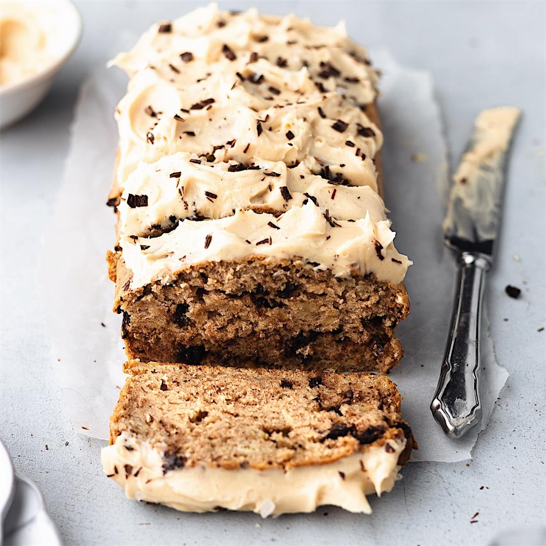 Chocolate Chip Banana Bread with Peanut Butter Frosting