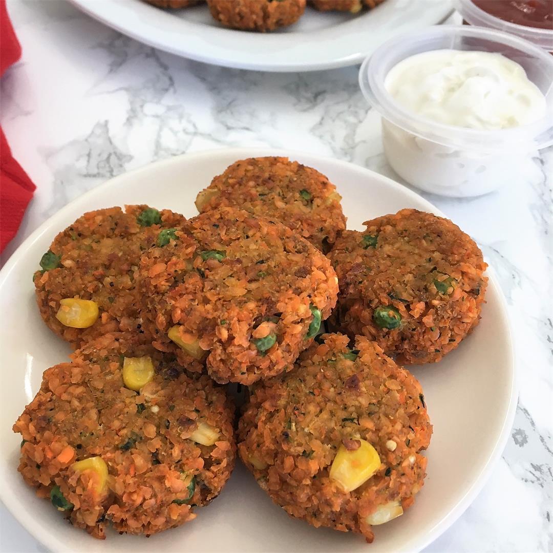 Baked Lentil Veggie Nuggets