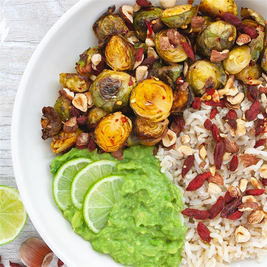 Chili Lime Roasted Brussel Sprouts with Avocado Dressing